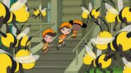 Adyson, Milly and Holly singing to the bees