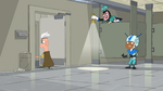Ferb exits the speckies area from the restroom
