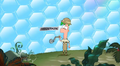 Ferb turns the mountain handle
