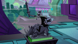 "Alt. Doof's statue says ""OBEY ME"""
