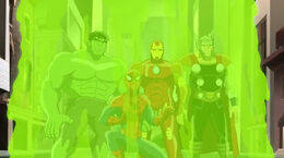 Hulk, Spidey, Iron-Man and Thor were zapped