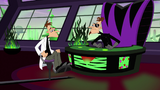 Doofenshmirtz frowns after the 2nd Dimension Doofenshmirtz asks the original Doofenshmirtz a question