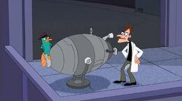 Perry covers Doofenshmirtz's Inator
