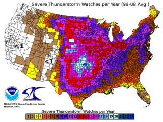 Annual severe thunderstorm watch frequency in the United States