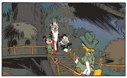 Donald quitte le village Wa'Kata devant Mickey Dingo et Gripsou