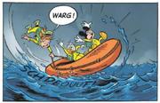 Le canot des trois aventuriers amerrit tant bien que mal