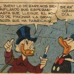 Picsou et Donald dessinés par Carl Barks dans l'histoire <i>Le champion de la fortune</i>de 1959.