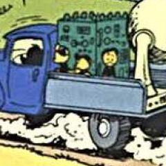 Filament en équilibre sur une jambe sur le camion