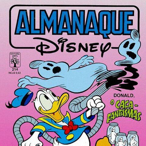 Couverture de la revue brésilienne <i>Almanaque Disney</i> n°214 de mars 1989 illustrant ce récit. Elle est peut-être dessinée par Paulo Renato da Costa Noely.