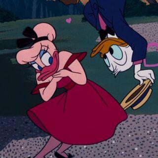 Daisy étrangement représentée avec des plumes roses, ici avec Donald, dans <i><a href=