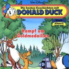 Couverture du recueil allemand <i>Die besten Geschichten mit Donald Duck</i> n°45 paru en 1995, qui illustre l'histoire. L'illustration reprend une case de l'histoire de <a href=
