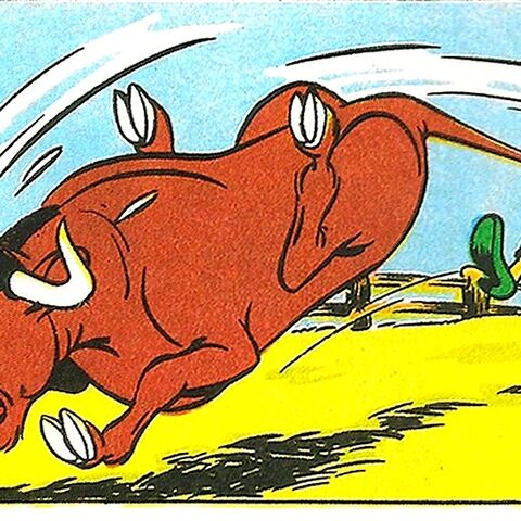 Tante Myrtille, arrêtant un taureau en charge.