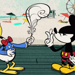 Mickey et Donald tirent à la courte plume pour savoir qui aura ses habits et ceux de l'autre.
