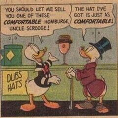 Pïcsou et Donald dessinés par Carl Barks dans <i>Picsou travaille du chapeau</i> de 1957.