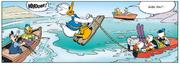 Donald auteur d'un saut de ski nautique devant le club de pêche