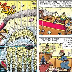 Illustration montrant la destruction du yacht du sultan.