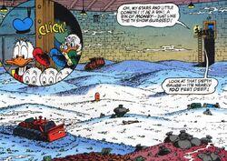 Donald Duck et ses neveux découvrant le coffre de Balthazar Picsou