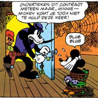 Pat Hibulaire, avec sa jambe de bois, dans une de ses premières apparitions en bande dessinée.