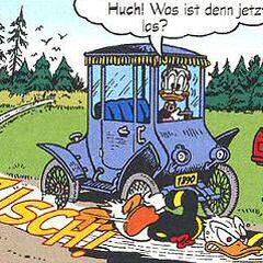 Grand-mère Donald et sa voiture dessinées par <a href=