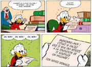 Balthazar Picsou découvrant la lettre de Donald annonçant son larcin