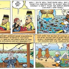 Illustration montrant le succès de Picsou et son retour à Batavia.