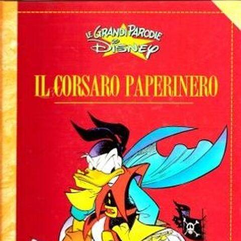 Couverture du magazine italien <i>Le grandi parodie (Disney)</i> n°37, dessinée par Marco Ghiglione pour une réédition de l'histoire ainsi que pour sa suite, <i><a href=