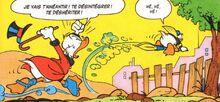 Donald s'enfuit grâce aux jumelles S. Q. P.