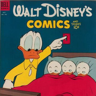 Couverture du <i>comic book Walt Disney's Comics and Stories</i> n°166 dessinée par Carl Barks, où est parue pour la première fois l'histoire.