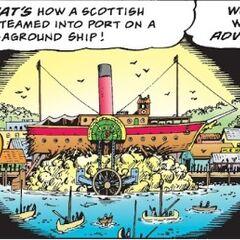 Illustration montrant le retour de Picsou sur un vapeur échoué au port de Batavia.