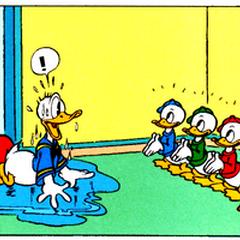 Riri, Fifi et Loulou dans leur première apparition avec leur oncle Donald, dessinés par Al Taliaferro.
