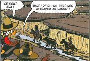 Balthazar Picsou et Théodore Roosevelt poursuivant les McVipère Le Cow-boy des Badlands
