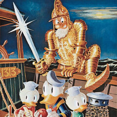 Peinture de Carl Barks, appelée <i>Menace From The Grotto</i>.