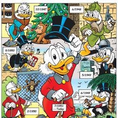 Illustration de Don Rosa. L'histoire est représentée tout en haut à droite. Elle se nomme: <i>Soixante ans avec Picsou 1: Premières histoires, premiers looks!</i>