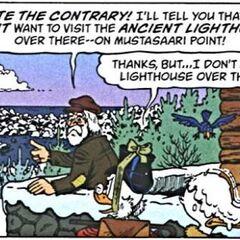 Le bec de Donald servant de tremplin aux oiseaux.