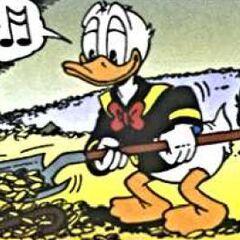 Donald recouvrant de pièces la canne.
