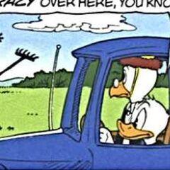 Filament remontant sur le véhicule.