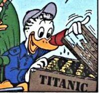 Gontran retrouvant des bouteilles du Titanic