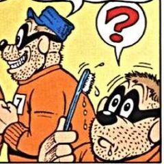 Un Rapetou surpris de se réveiller avec une brosse à dent dans la bouche.
