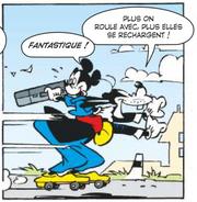 Les chaussures à roulettes permettent à Mickey et Dingo de s'échapper