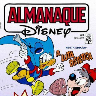 Couverture de la revue brésilienne <i>Almanaque Disney</i> n°230 de juillet 1990 illustrant ce récit. Elle est dessinée par Euclides K. Miyaura.
