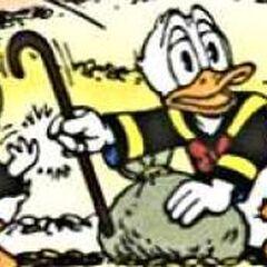 Donald prend la canne de Picsou.