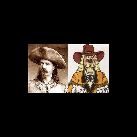 Le vrai Buffalo Bill et le personnage dessiné par <a href=