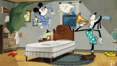 Mémé Dingo réveillant Mickey au clairon