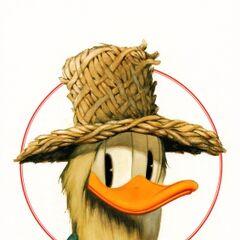 Le déguisement <i>naturel</i> de Donald dans l'histoire, redessiné par <a href=