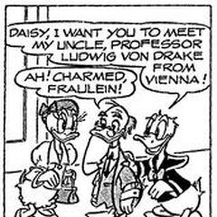 Daisy, Ludwig et Donald dessinés par Al Taliaferro en 1961.