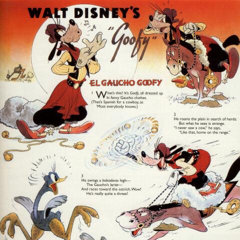 Page extraite du mensuel féminin <i>Good Housekeeping</i>, illustrant le dessin animé <i>Dingo en Argentine</i> avec un résumé en vers de son histoire.