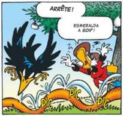 Le corbeau attaque le tuyau d'arrosage de Picsou