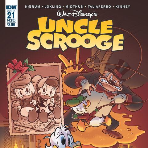Couverture de la revue américaine <i>Uncle Scrooge</i> n°425 du 14 décembre 2016 illustrant ce récit. Elle est dessinée par <a href=
