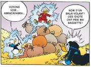 Donald utilise la baguette de Miss Tick sur lui et Picsou