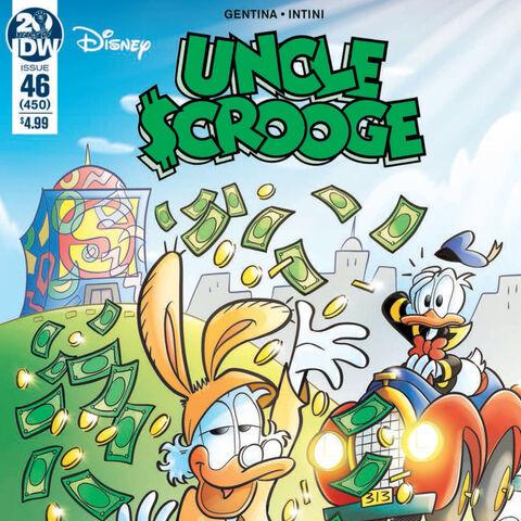 Couverture de la revue américaine <i>Uncle Scrooge</i> n°450 illustrant ce récit. Elle est dessinée par <a href=